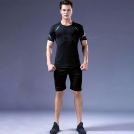 Quick-Drying-Breathable-Skinny-Short-Sleeve-Shirts-Trousers-Mens-Sports-High-Elasticity-Fitness-Clothes-3-PCSSet-BlackM