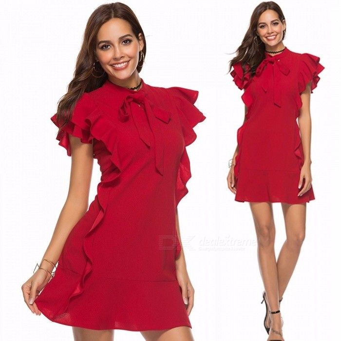 42133db90257a Summer Party Flounce Embellished Tied Neck Dresses For Womens Petal Sleeve  Ruffle Hem Zipper Back Sheath Dress