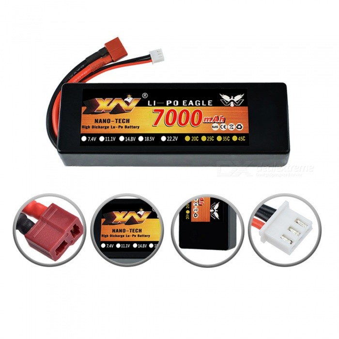 XW-Power-74V-7000mAh-30C-2S-Rechargeable-Lipo-Battery-T-Plug-Hard-Case-for-RC-110-Scale-Traxxas-Car