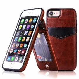 Measy Premium PU Leather Kickstand Wallet Case with Card Holder for IPHONE 7/8 - Brown