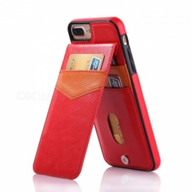 Measy Premium PU Leather Kickstand Wallet Case with Card Holder for IPHONE 7/8 Plus - Red