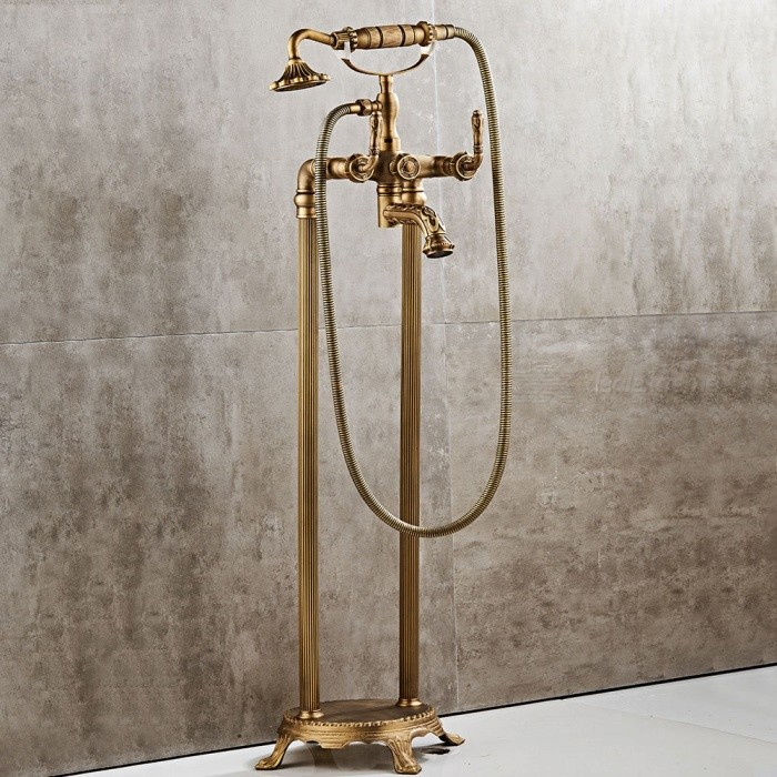 Antique-Brass-Floor-Mount-Free-Standing-Tub-Filler-Tap-Bathtub-Mixer-Faucet-with-Handheld-Sprayer