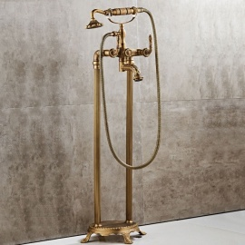 Antique Brass Floor Mount Free Standing Tub Filler Tap Bathtub Mixer Faucet with Handheld Sprayer