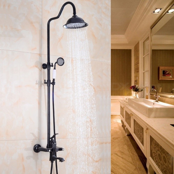 Wall Mounted Brass Oil-rubbed Bronze Bath Shower Faucet Set, 8\