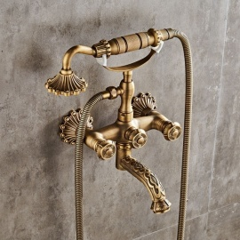 Antique Brass 6-Inch Centers Two Handle Bathroom Clawfoot Bathtub Shower Faucet, Wall-Mounted Tub Mixer Tap with Hand Spray