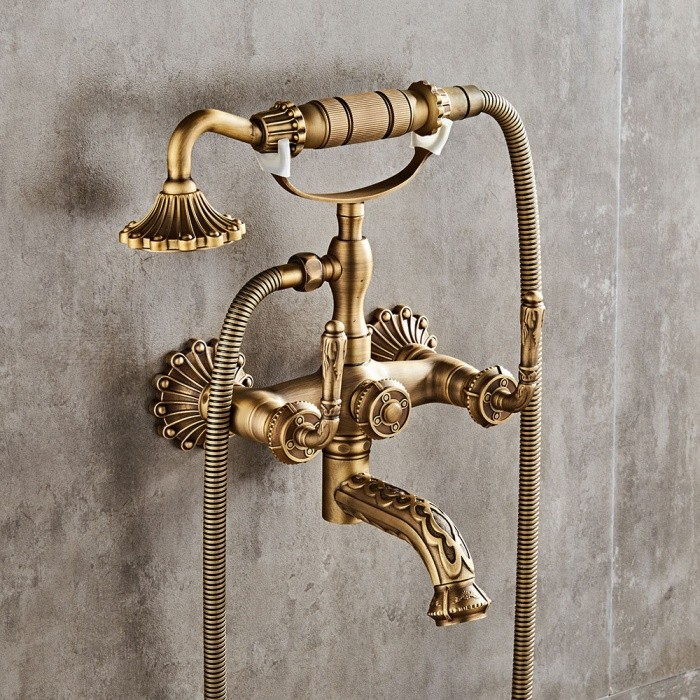 Antique Br 6 Inch Centers Two Handle Bathroom Clawfoot Bathtub Shower Faucet Wall