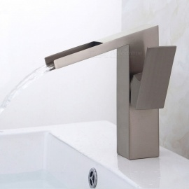 Brass Waterfall Brushed One-Hole Bathroom Sink Faucet with Ceramic Valve, Single Handle