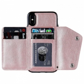 Measy Premium PU Leather Wallet Case Kickstand, Double Clasp and Durable Shockproof Cover for IPHONE X