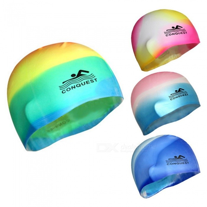 Gradient Color Adult Silicone Swimming Cap, Waterproof Ear Protection Rubber Swimming Cover Hat Yellow/One Size