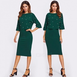 Women-Tops-And-Skirt-2-Piece-Set-Beading-Decorative-Round-Neck-Three-Quarter-Sleeve-Shirt-2b-Package-Hip-Skirt-Suit-Dark-GreenS