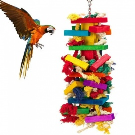 Knots-Wooden-Block-Chewing-Bird-Toy-For-Parrot-(Large-17-Inches)-Green