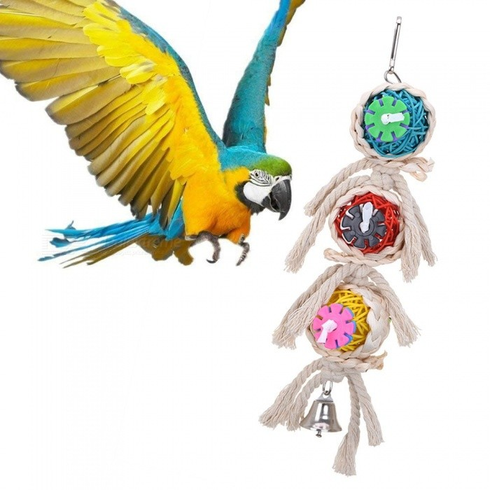 Bird Supplies Clever Pet Bird Toys Chew Parrot Ring Hanging Swing Cage Cockatiel Parakeet Toy