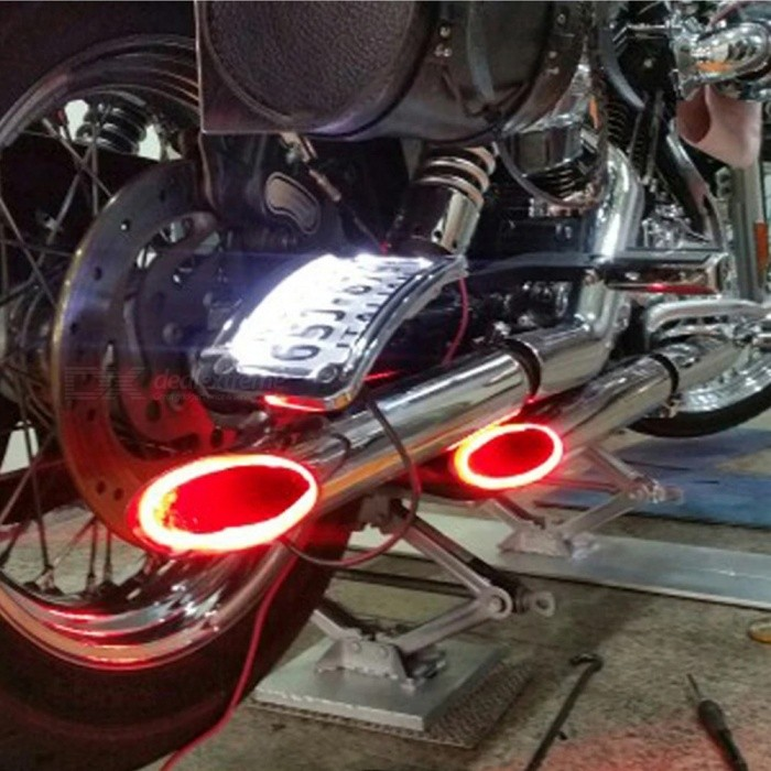 Motorcycle LED Light, Motorbike Exhaust Pipe Lamp, Warning Firing Indicator, Scooter Refit Thermostability Light Multi