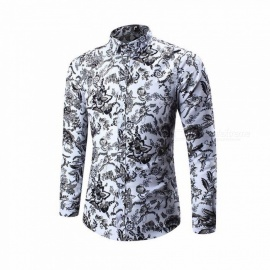 Casual-Printing-Thin-Slim-Long-Sleeve-Mens-Shirt-Tops-For-Autumn-Winter-GrayM