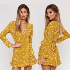 V-Neck-Long-Sleeve-Irregular-Ruffle-Hem-Dress-High-Waist-Dot-Printing-Mini-Dress-For-Spring-Autumn-YellowS