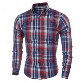 Fashion-Small-Plaid-Pattern-Mens-Shirt-Slim-Long-Sleeve-Base-Shirt-Tops-BlueM