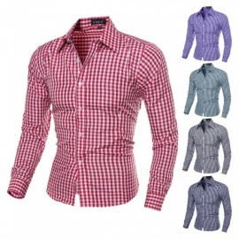 Fashion-Small-Plaid-Pattern-Mens-Shirt-Casual-Slim-Long-Sleeve-Base-Shirt-Tops-BlackM