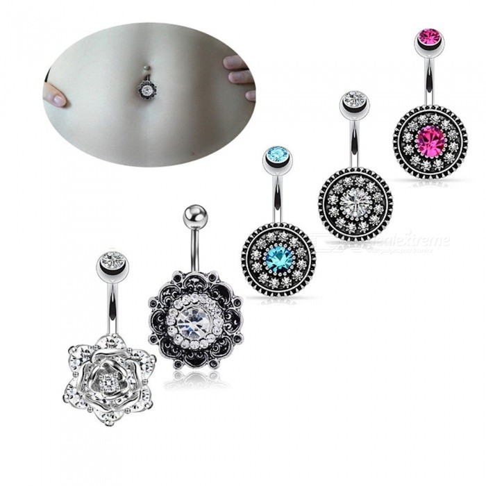 5PCS Vintage Flowers Style Medical Steel Navel Piercing Crystal Belly Button Rings Summer Body Jewelry Sexy Navel Rings Multi