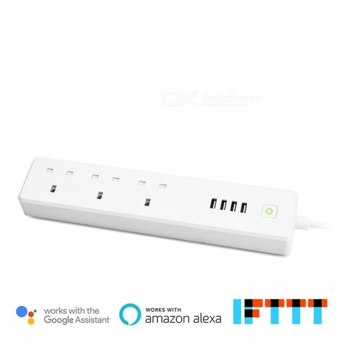 UK Plug Smart Wi-Fi Control Power Outlet With 3 AC Sockets + 4 USB Ports,  Works With Amazon Alexa And Google Assistant White