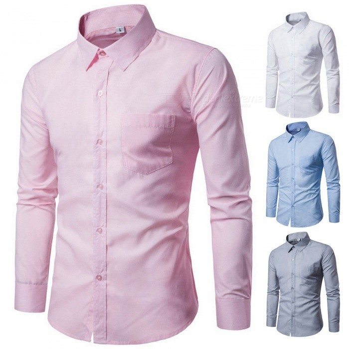 Fashion-Long-Sleeve-Shirt-For-Men-Solid-Color-Casual-Business-Turn-Down-Collar-Slim-Fit-Shirt-BlackM