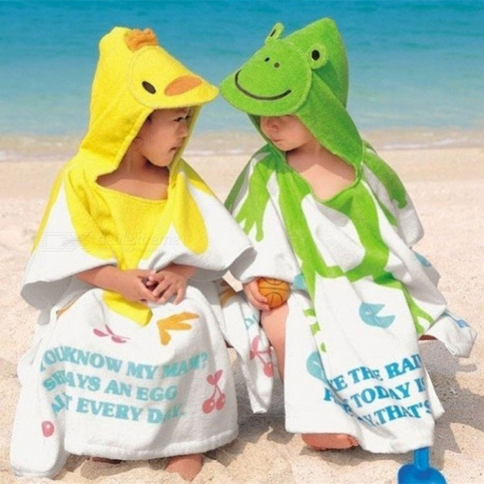 Cute Cartoon Animal Robe Thicken Cotton Bathrobe Swimming Towel Hooded Cloak Capes Nightgown For 2-6 Years Kids Green/60*120cm