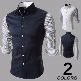 Fashion-Contrast-Color-Striped-Long-Sleeve-Mens-Shirt-Casual-Turn-Down-Collar-Slim-Fit-Shirt-For-Men-WhiteM
