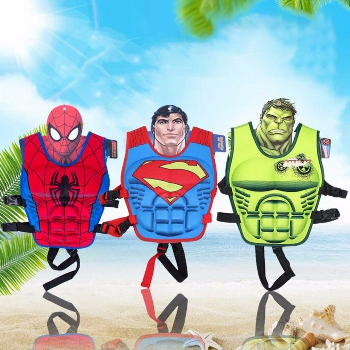 Children Buoyancy Swimsuit Life Vest 3D Cartoon Superhero For Training Swimming Floating Water Sports Size L Red/L