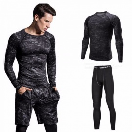 Quick-Drying-Breathable-Print-Gray-Skinny-Short-Sleeve-Shirts-Trousers-Mens-Sports-Elasticity-Fitness-Clothes-2-PCSSet-GrayM