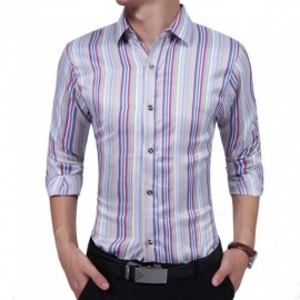 New-Fashion-Casual-Mens-Long-Sleeve-Shirt-Striped-Personality-Business-Lapel-Slim-Shirts-MultiM