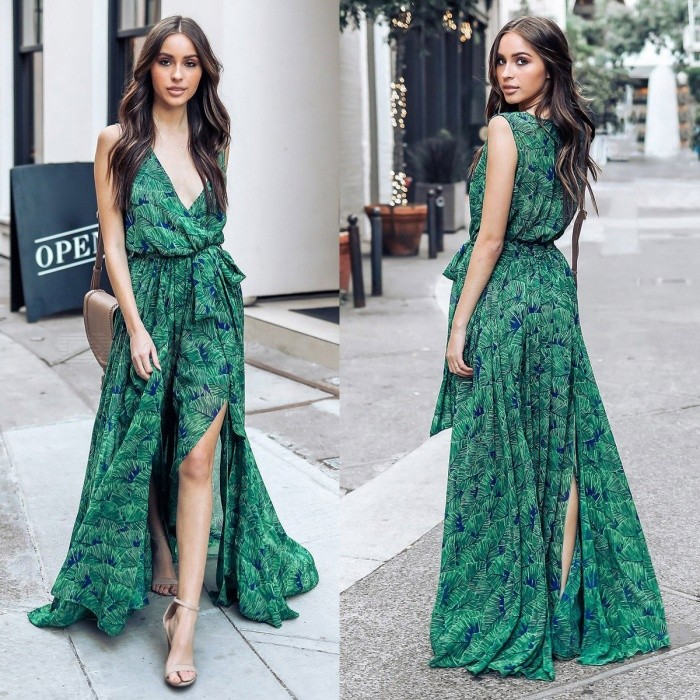 Summer-Beach-Maxi-Dress-Sexy-Floral-Printed-V-Neck-Sleeveless-Chiffon-Long-Dresses-With-Sashes-For-Women-GreenS