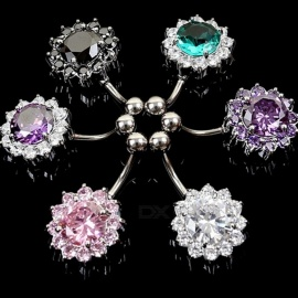 Stainless-Steel-AAA-Flower-Design-Zircon-Navel-Bell-Button-Rings-Body-Piercing-Jewelry-6PCS-Random-Color-Multi