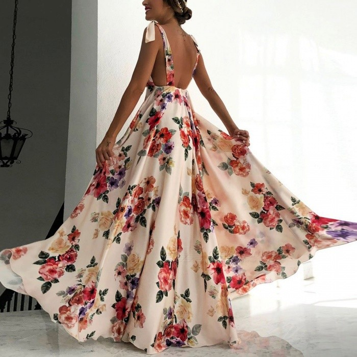 Summer Bow Maxi Dress Boho V-Neck Floral Print Ruffle Tiered Elegant Beach Party Long Dresses For Women
