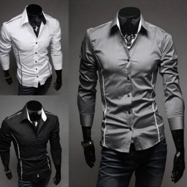 Business-Mens-Patchwork-Casual-Shirt-Turn-down-Collar-New-Fashion-Splice-Long-Sleeve-Shirts-BlackM