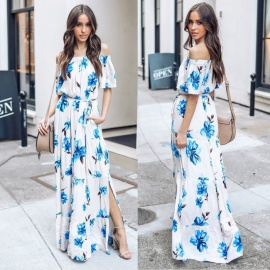 b7d95dba78c8 Women s Floral Printed Maxi Dress Off Shoulders Word Collar With Sashes  Half Sleeve Long Dresses For