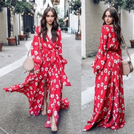 Maxi-Dress-Boho-Beach-Floral-Printed-V-neck-Long-Lantern-Sleeve-Long-Dresses-With-Sashes-For-Women-RedS