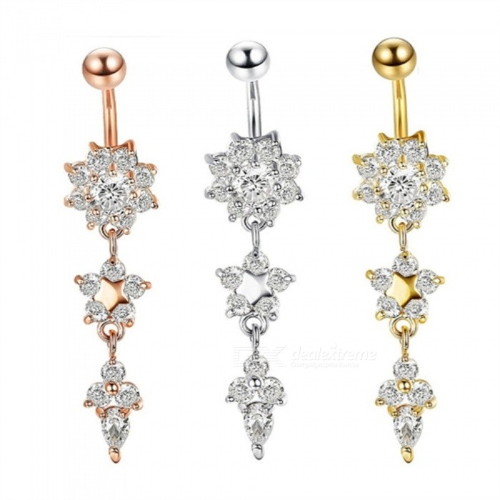 Jewelry   Buckle   Flower   Button   Belly   Steel   Color   Body   Ring
