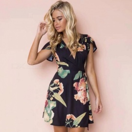 Deep-V-Neck-Floral-Print-Dress-Back-Lacing-Up-Waist-Slit-Short-Petal-Sleeve-Short-Dresses-With-Sashes-For-Women-BlackS