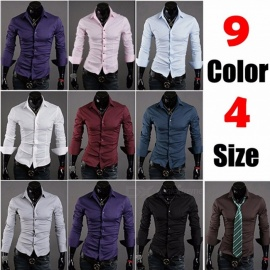 New-Mens-Youth-Korean-Slim-Thin-Shirt-Long-Sleeve-Fashion-Casual-Solid-Color-Simple-Shirts
