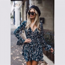 Sexy-Print-Floral-Mini-Dress-V-Neck-Ruffles-Lotus-Leaf-Flare-Sleeve-Irregular-Short-Dresses-For-Women-Navy-BlueS