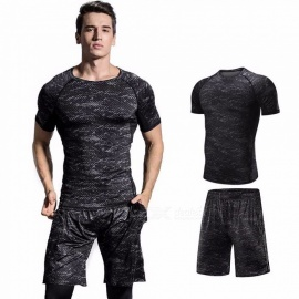 Quick-Drying-Breathable-Skinny-Short-Sleeve-Shirts-Shorts-Mens-Sports-High-Elasticity-Fitness-Clothes-Gray-2-PCSSet-Gray4XL