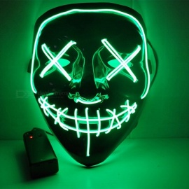 máscara de Halloween doble costura línea máscara de terror máscara de brillo LED brillante (G / 2 * AA)