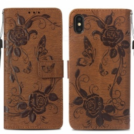 Measy Flower Print Protective PU Leather Wallet Phone Case with Card Holder Kickstand for IPHONE XS MAX