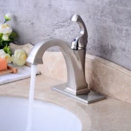 Contemporary Brass Brushed Ceramic Valve One-Hole Bathroom Sink Faucet w/ Single Handle