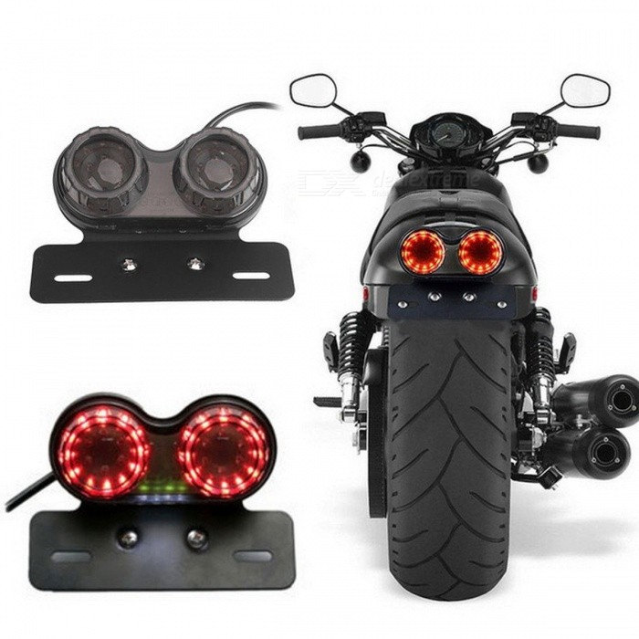 DC 12V Plastic Generic Durable Motorcycle Light, Turn Signal Brake Dual LED Light, Twin Light Integrated Tail Light Black