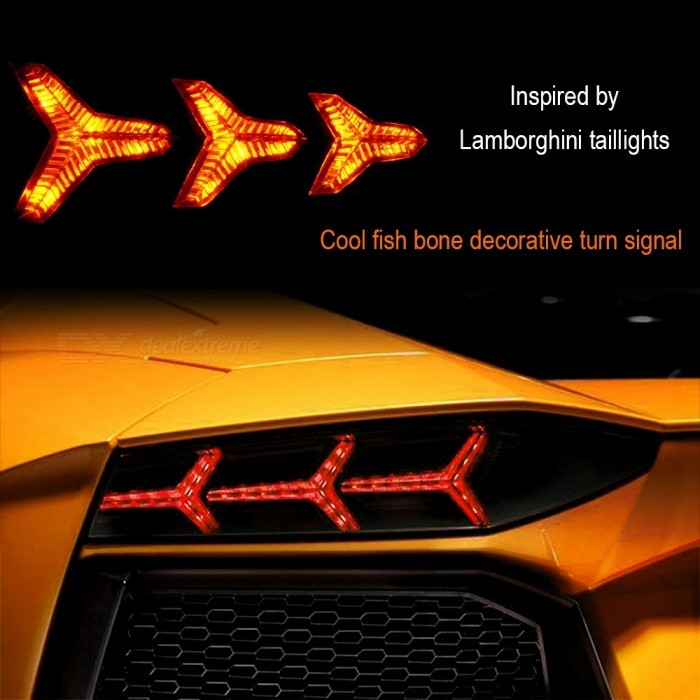 Universal Motorcycle LED Turn Signal Light, Runner Sequential Signal LED Indicator, Streamer Amber Light (1 Pair) Black