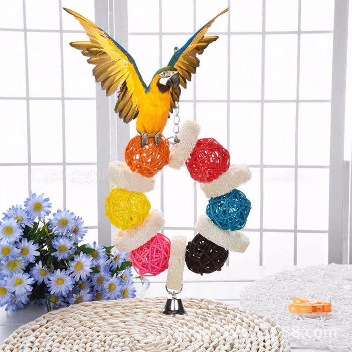 Buy Colorful Sepak Takraw Parrot Chewing Toy, Rattan Ball Bird Hanging Toy With Bells Assorted with Litecoins with Free Shipping on Gipsybee.com