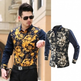 Fashion-Shirt-Long-Sleeve-Tops-Casual-Wild-Print-Color-Patchwork-Classic-Slim-Shirts-For-Mens