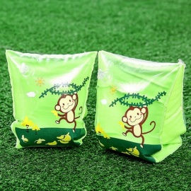 Thicken Inflation PVC Safety Cartoon Dual Air Bags Water Sleeve Ring Swimming Arm Circle For Children Yellow