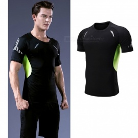 Quick-Drying-Breathable-Skinny-Short-Sleeve-T-Shirts-Mens-Casual-Sports-High-Elasticity-Fitness-Clothes-Black-Green-BlackM