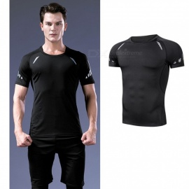 Quick-Drying-Breathable-Skinny-Short-Sleeve-T-Shirts-Mens-Casual-Sports-High-Elasticity-Fitness-Clothes-Black-Net-BlackM